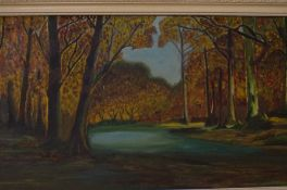 Oil on Board Forest and River Scene