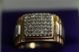 Gents 9ct Gold Rolex Ring Set with Paved Diamonds,