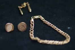 9ct Gold Curb Bracelet, together with a pair of 9c