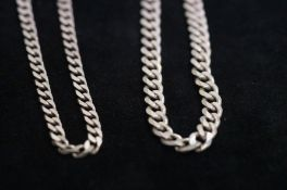 Two Silver Gents Curb Chains, 87g
