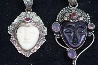 2x 925 Silver Pendants, Depicting Budda Faces
