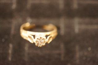 9ct Gold Ring with Illusion Cut Diamond - Size K.5