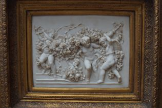 Moulded Plaque Cherubs in Early Frame