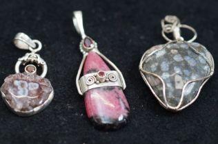 3x Silver and Hardstone Pendants