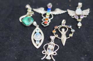 6x Silver and Glass Pendants