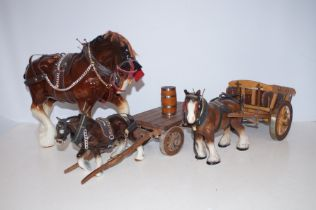 Two Shire Horses and Carts together with a Shire H