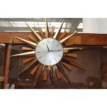 Vintage Metamec Starburst Clock, Working Order (Ba