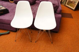 Pair of Designer Chairs with Chrome Undercarriage