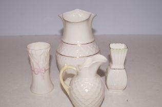 Four Pieces of Belleek Pottery - Vase 15.5cm h