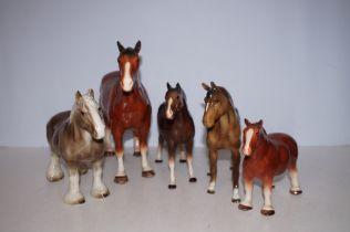 Five Ceramic Horses - Tallest 29cm h