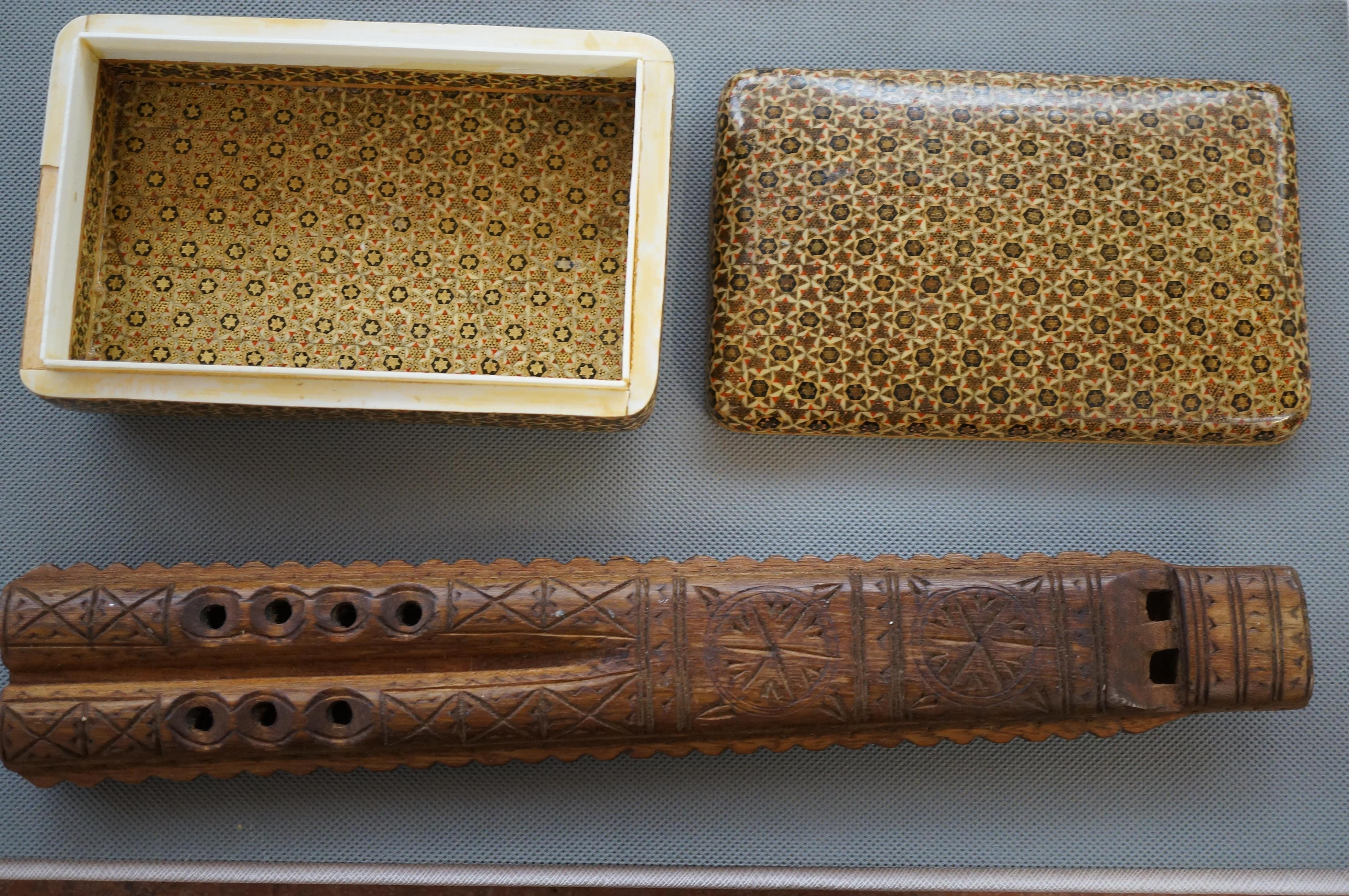 Carved Wooden Flute together with a Lidded Box