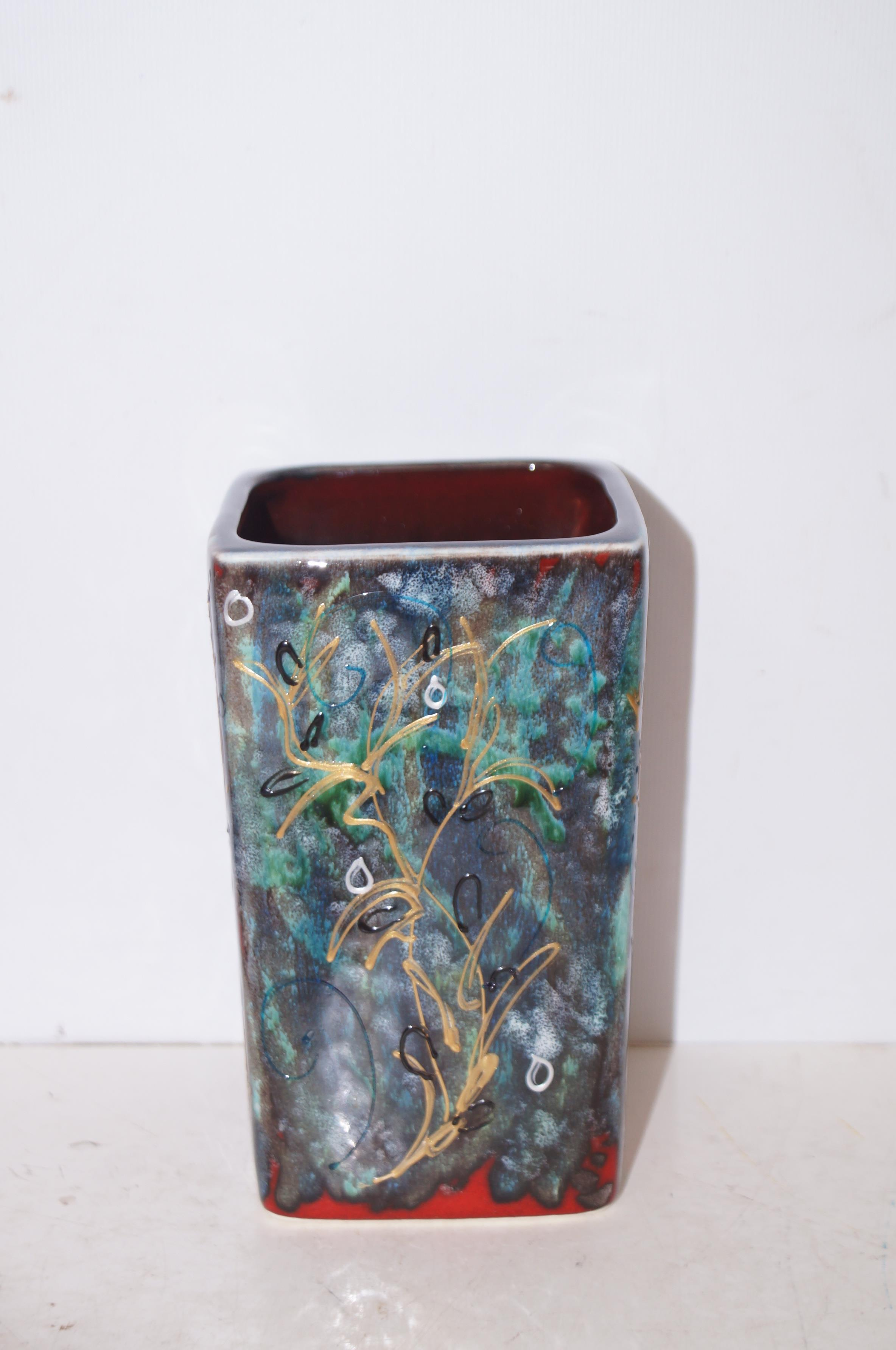 Anita Harris trial shell vase, signed in gold