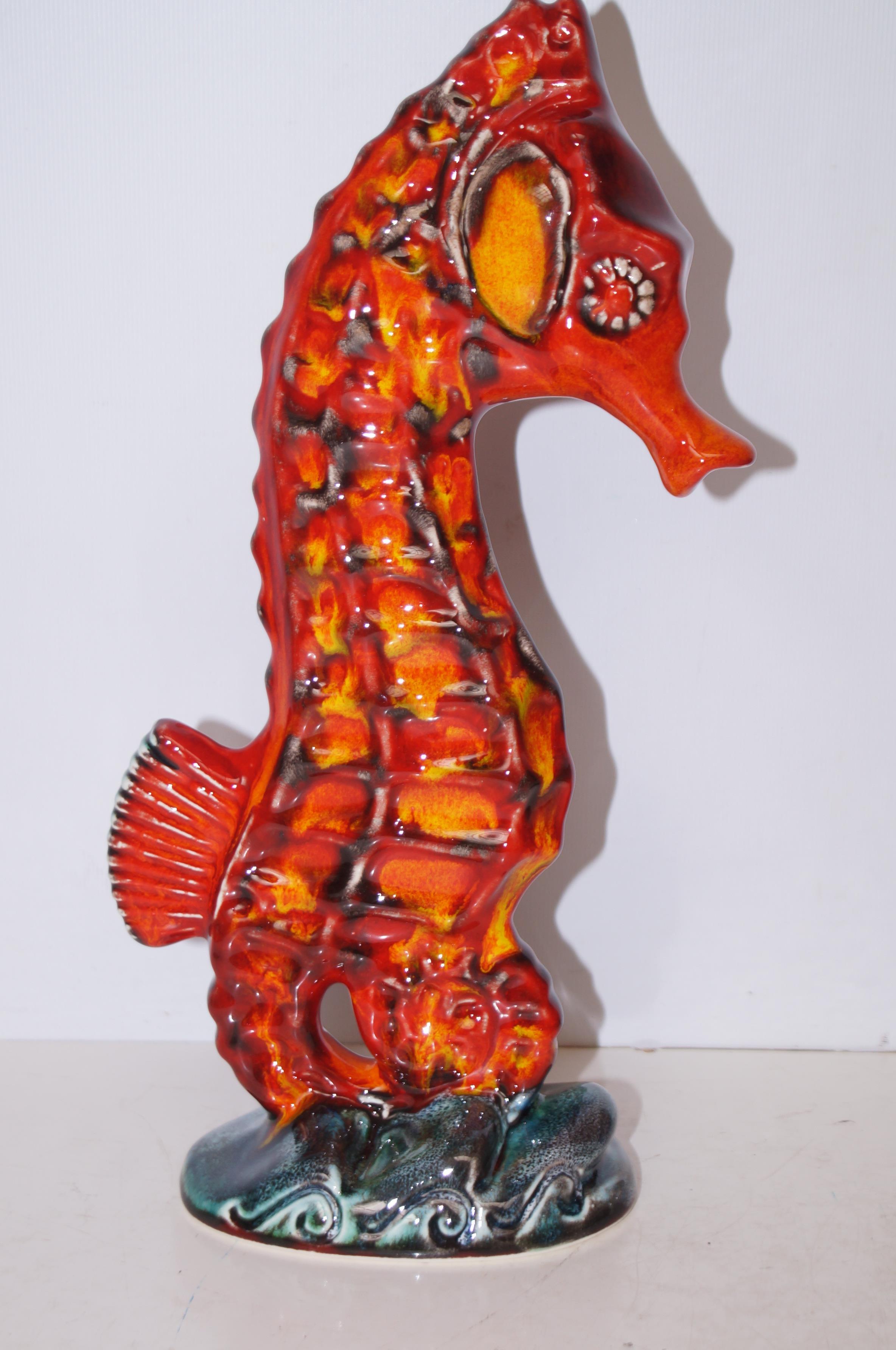 Anita Harris large seahorse signed in gold