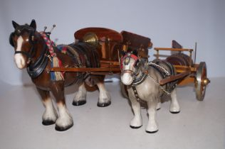 Two Shire Horses and Carts - Tallest 29cm h