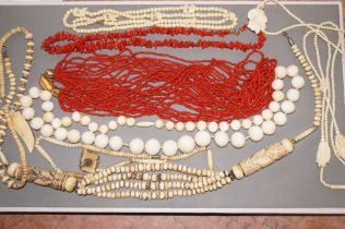 Collection of Coral, Bone and possibly Ivory Beads