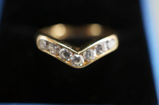 9ct Gold Ring set with 7 White Stones - Size 0