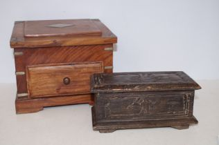Wooden Stationary Box together with an early Lidde