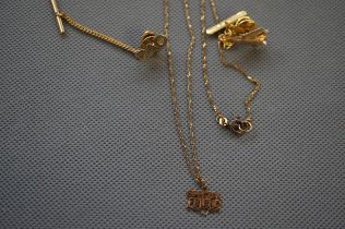 9ct Gold Chain and Pendant 'Special Friend', Two 9