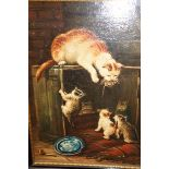 Oil on Board Mother and Kitten Painting (Indistinc