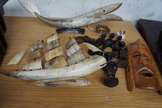Horn Fish Lamp, Horn Ship, Five African Figures an