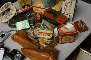 Collection of vintage Tins together with a pair of