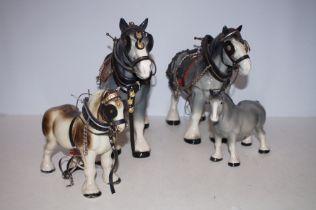 Four Shire Horses - Tallest 28cm h