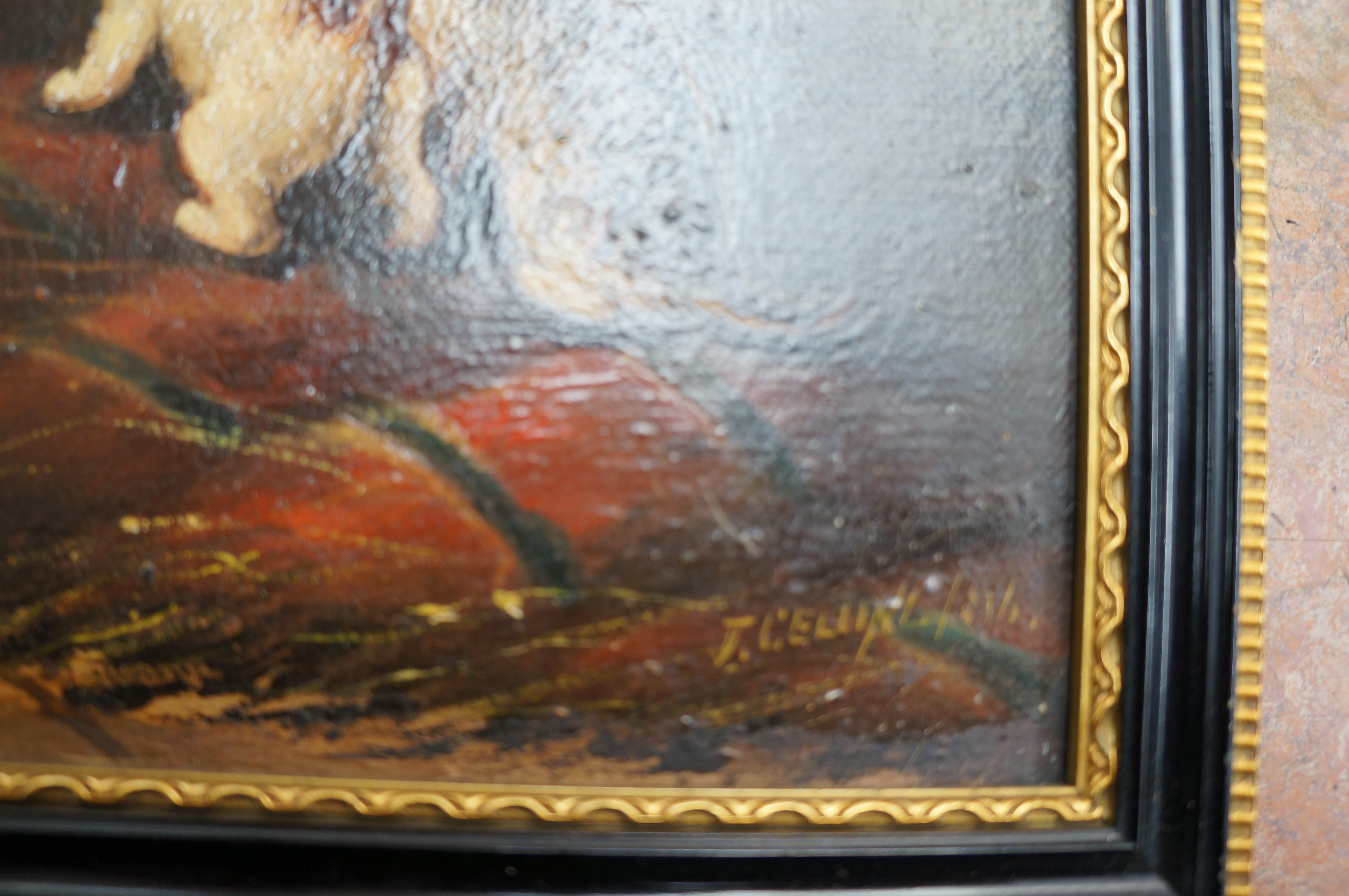 Oil on Board Mother and Kitten Painting (Indistinc - Image 2 of 2