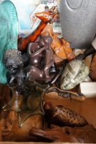 Mixed Box to include African Carved Figures, Stone