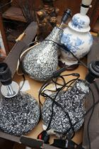 Five table lamps