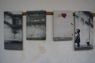 Four Wall Canvasses in the style of Banksy