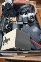Box of Vintage Cameras and Lenses