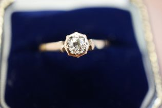 18ct Gold Diamond Solitaire Ring - Size P