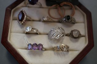 Collection of Nine Silver Rings in Presentation Bo