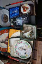 Box of Glass and Ceramics to include Waterford Cry