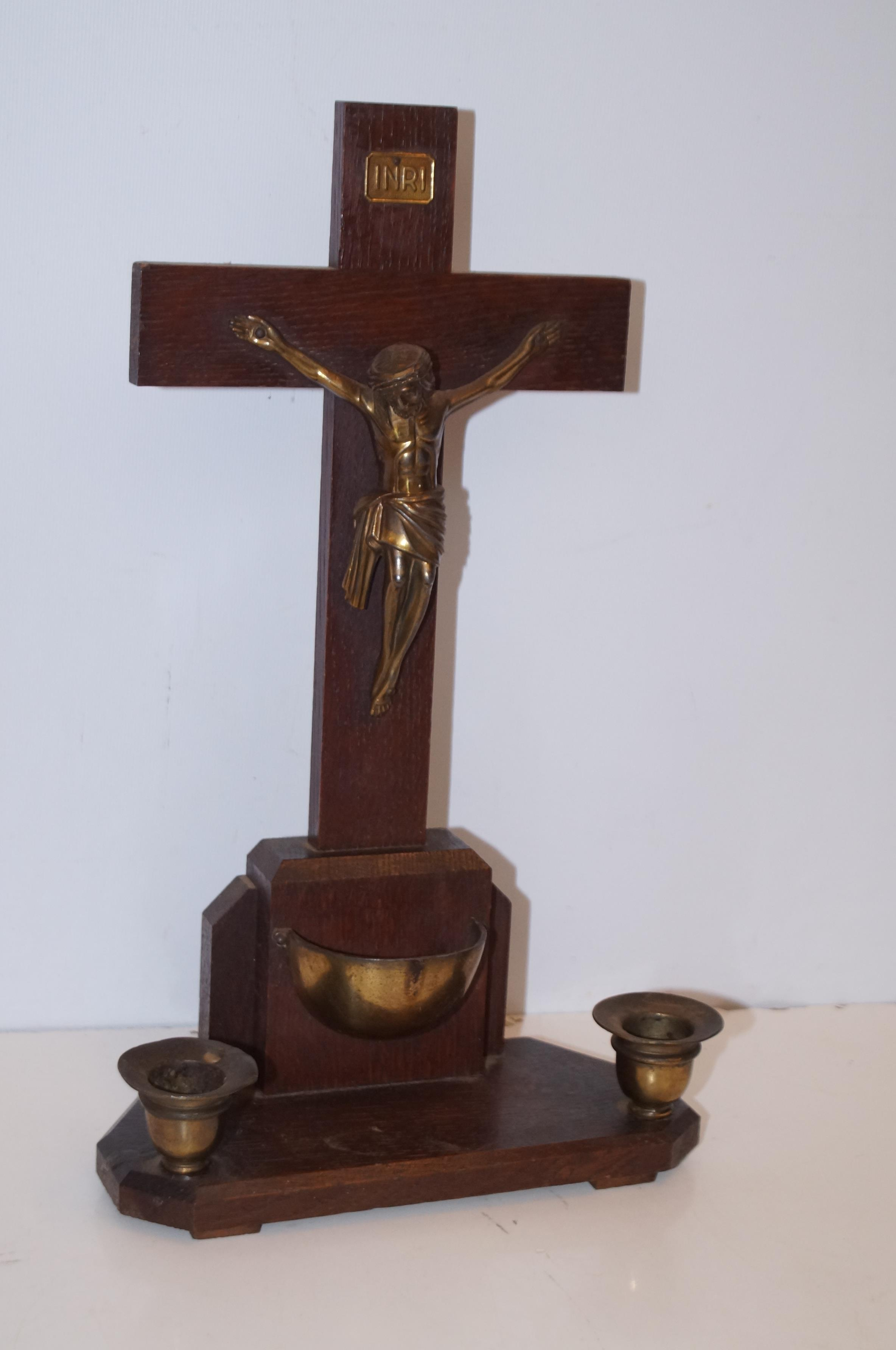 Wooden and brass crucifix & holly font