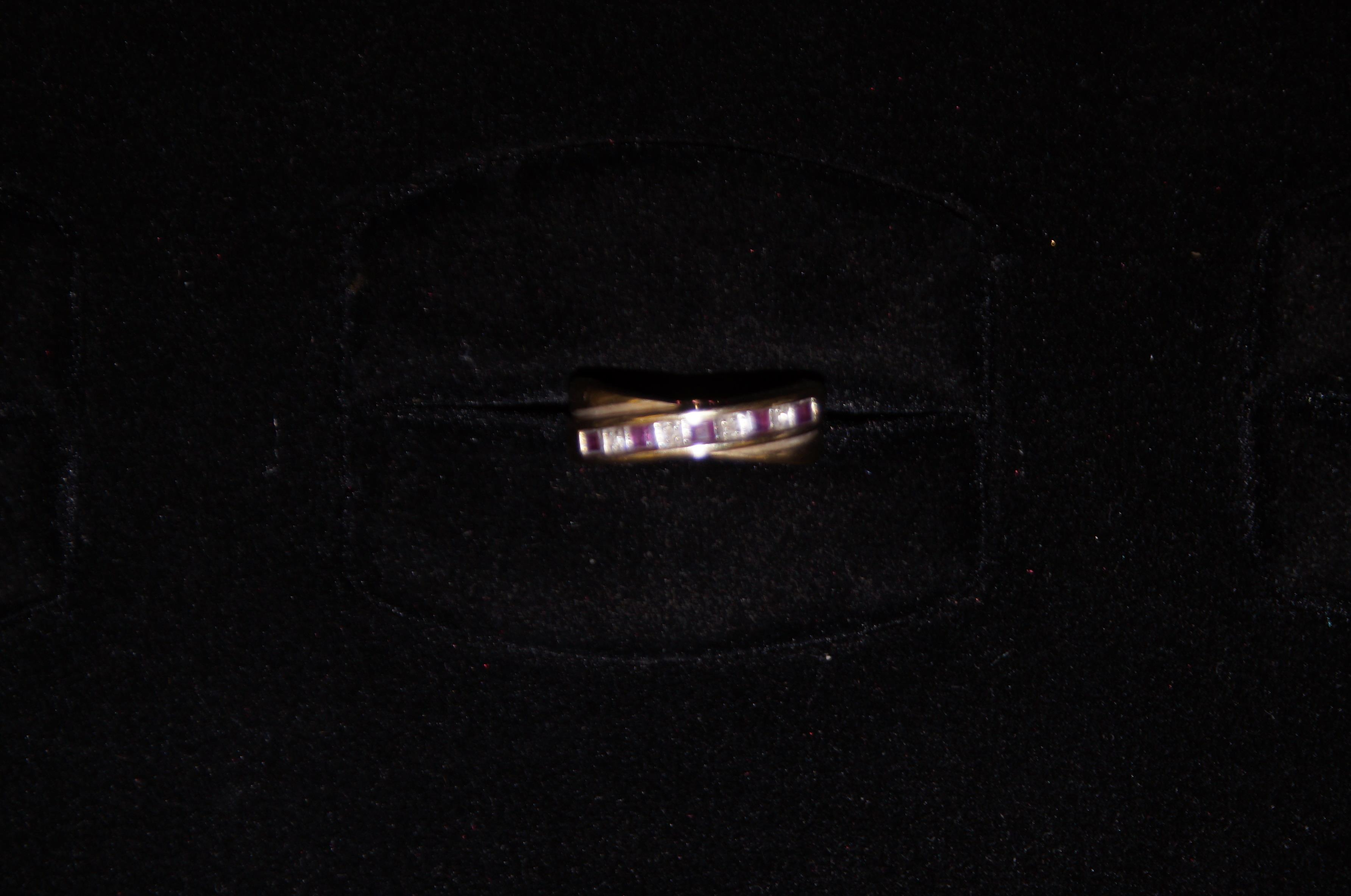 9ct Gold Ring with Pink Stones & Diamonds