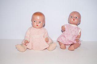 2 Pedigree Composite Baby Dolls 1940s - 9in