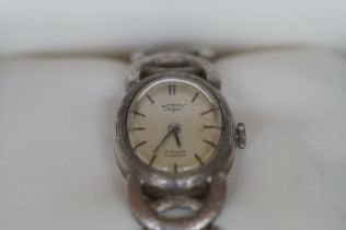 Ladies Rotary Stamped Silver Wristwatch - Boxed an