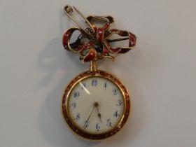 18ct Gold ladies brooch watch with fine enamel, cu