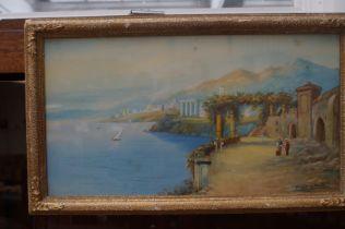 Antonio Giovani watercolour sea & mountain scene