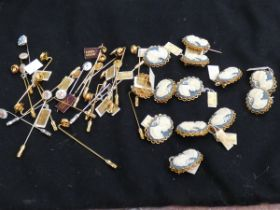 Collection of cameo brooches & stick pins