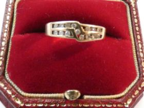 14ct Yellow gold ring set with 15 diamonds Size Q