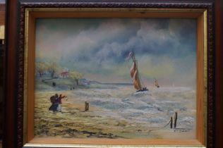 B M Mullen framed oil on board