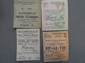 4x Bolton wanderers ticket stubs including 1958 fi