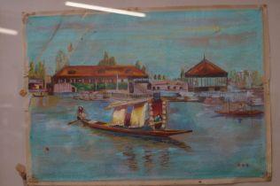 Oriental boat scene