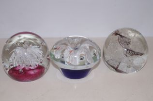 3 Large glass paper weights
