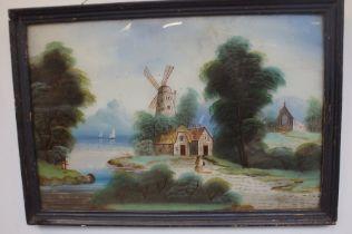 Lake & Wind mill scene framed painting