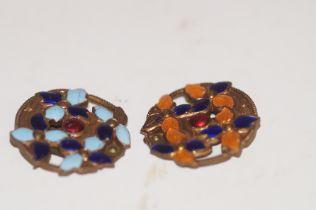 Brass & enamel clip brooches