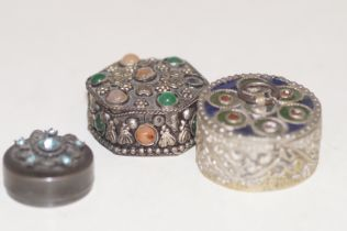 3 White metal ornate pill boxes