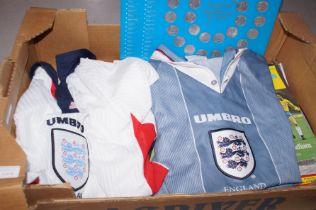 Box of England world cup memorabilia to include 2x